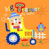 Tractor vector. For wallpaper wall Royalty Free Stock Images