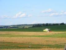 Tractor verde de la cosechadora que cosecha el campo del secadero Imagen de archivo