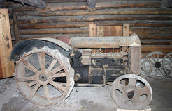 Tractor, very old. In village, in garage Stock Image