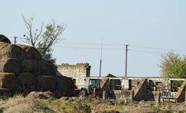 Tractor viejo en granja de la vaca de las ruinas Fotografía de archivo libre de regalías