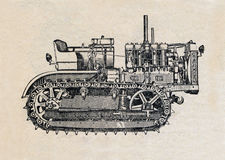 Tractor, vintage engraved illustration Stock Photos
