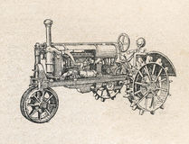Tractor, vintage engraved illustration Stock Photo