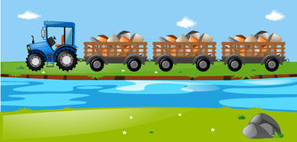 Tractor and wagons loaded with stones Royalty Free Stock Image