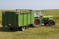 Tractor on the Warft on the Hallig Langeness Stock Images