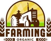 Tractor Wheat Organic Farming Crest Retro Stock Photo