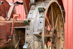 Tractor wheel. Close-up of the steel wheel of an old tractor Royalty Free Stock Images
