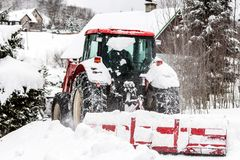 Tractor on winter Royalty Free Stock Photo