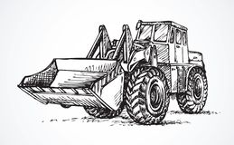 Tractor With Bucket. Vector Drawing Royalty Free Stock Images