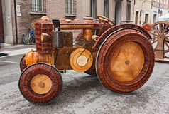 Tractor of wood and wicker Stock Image