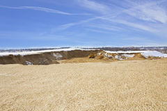 Tractor work in opencast Stock Images