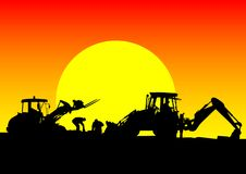 Tractor work on sunset Royalty Free Stock Photography