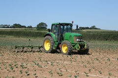 Tractor working in field. Green tractor working in a field of crops Royalty Free Stock Images