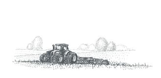 Tractor working in field illustration. Vector. eps 10. For print or web Royalty Free Stock Photography