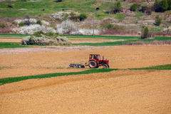 Tractor working in a field. At spring Royalty Free Stock Photography