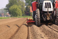 Tractor working the land netherlands. Tractor preparing the land for agriculture in the netehrlands. Farming with trator Royalty Free Stock Image