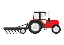 Tractor works in a field. Isolated on white background. Vector illustration. Eps 10 Stock Images