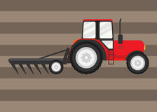 Tractor works in a field. Vector illustration. Eps 10 Royalty Free Stock Photography
