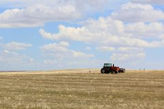 Tractor in Wyoming Field Stock Photo