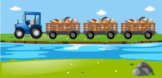 Tractor y carros cargados con las piedras libre illustration