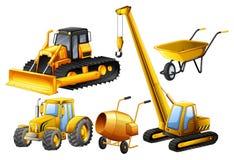 Tractor y otros vehículos usados en emplazamiento de la obra ilustración del vector