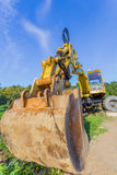 Tractor. Yellow tractor on construction site Stock Image