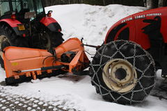 Tractor Zetor with snow plough Royalty Free Stock Photos