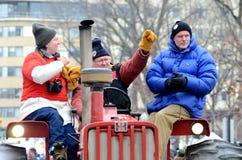 Tractorcade durante il raduno a Madison Wisconsin Immagine Stock Libera da Diritti