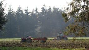 Tractoren en bomen op gebied Royalty-vrije Stock Fotografie