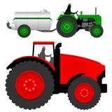 Tractoren met vloeibare mesttanker Royalty-vrije Stock Foto