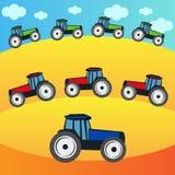 Tractoren op het gebied Stock Afbeelding
