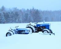 Tractoren in sneeuw Royalty-vrije Stock Foto