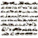50 tractores de los iconos del vector Imagenes de archivo