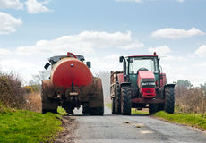 Tractors blocking Road Royalty Free Stock Photography