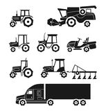 Tractors and combine harvesters vector icons set Stock Photo
