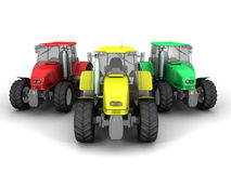 Tractors. 3D image of tractors on white background Stock Images