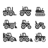 Tractors, Farm and Buildings Machines Icons Set. Vector Royalty Free Stock Photography