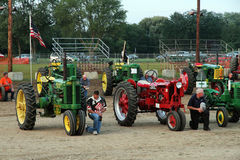 Tractors Farmall and John Deere Stock Photo
