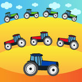 Tractors on the field. Many tractors harvesting the field. Vector cartoon illustration Stock Image