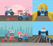 Tractors. In the field. Seasonal works plowing and sowing on farmland. Farming and Agriculture industry concept. Vector illustration Stock Image