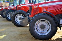 Tractors front. View of the front of tractors at an exhibition stock images