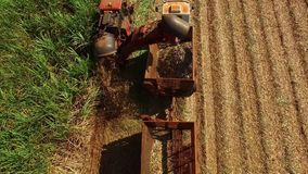 Tractors grooving and composting soil, preparing ground to sugarcane plantation - Aerial view - Sunny day in Brazil