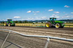 Tractors on horse race track Royalty Free Stock Photos