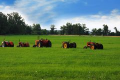 Tractors In A Line Royalty Free Stock Photos