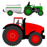 Tractors with liquid manure tanker. Two tractors with liquid manure tanker vector illustration