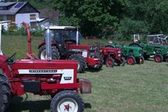 Tractors. Lolbach, Germany, 2015, view of the front of tractors at an exhibition Stock Image