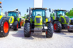 Tractors. New tractors exposed for sale,photography Royalty Free Stock Images
