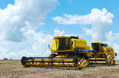 Tractors parked after the soybean harvest season Royalty Free Stock Image