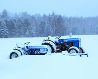 Tractors in snow Royalty Free Stock Photo