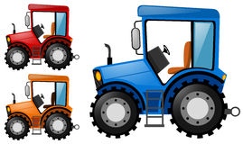 Tractors in three different colors Stock Photo