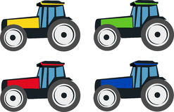 TRACTORS. Vector illustration of four types of tractors. Each tractor has a different color - yellow, green, red and blue Stock Photos
